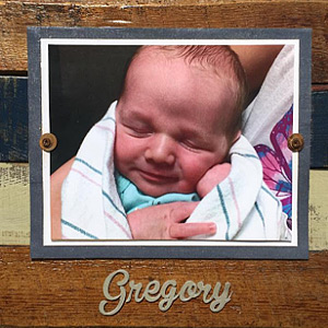 Personalized baby picture frame for Gregory