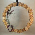birch wood slice wreath with heart