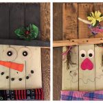 Reversible Pallet Sign / Door Plaque, Snowman and Scarecrow