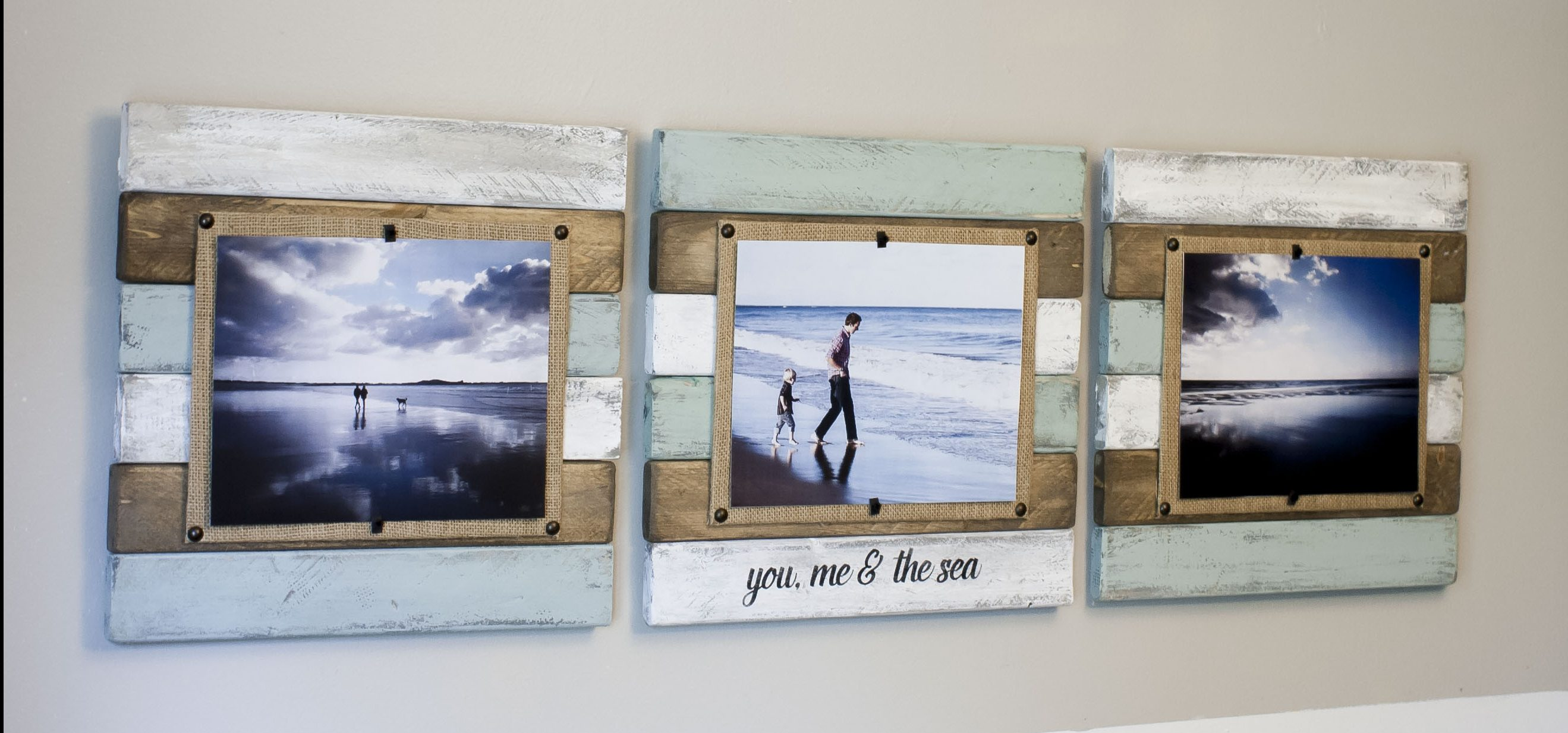reclaimed wood picture frame set, beach frame style