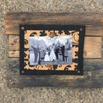 4x6 Pallet Picture Frame, Barnwood Frame, Black Floral Pattern, Reclaimed Wood Picture Frame, Wood Pallet Frame with Black Burlap and Cork