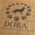 Dog Monogram, Dog Silhouette, Burlap Print, Personalized Dog Wall Art, Dog Owner Gift, Dog Lover Gift, Dog Memorial, Dog Decor,