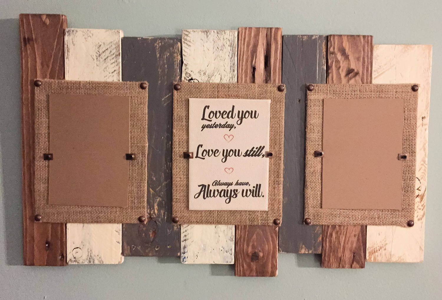 Triple Reclaimed Wood Pallet Picture Frame, Wood 5th Anniversary ...
